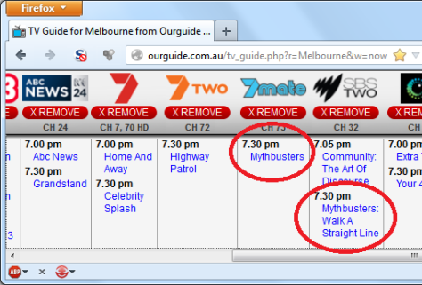 Melbourne TV Guide for 30 April 2013