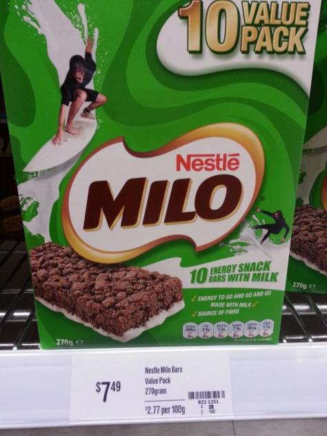 Nestle Milo Bar, 10 pack. Price is $7.49.